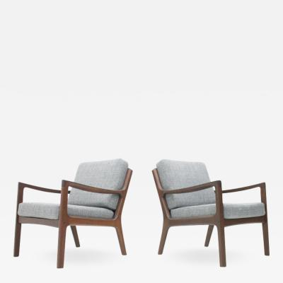 Ole Wanscher Pair of Easy Chairs by Ole Wanscher in Mahogany made by France Son Denmark