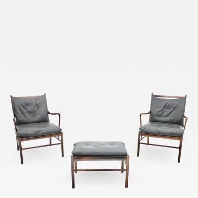Ole Wanscher Pair of Ole Wanscher Colonial Lounge Chairs with Stool by Pool Jeppesen Denmark
