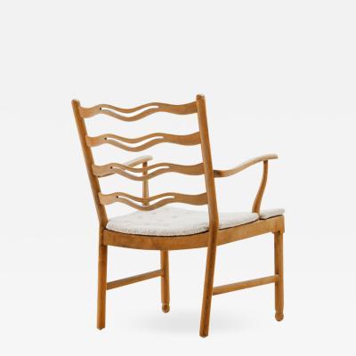 Ole Wanscher Walnut Armchair Model 1755 by Ole Wanscher With Boucl Cushion Denmark 1940s