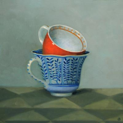 Olga Antonova Red and Blue Teacups
