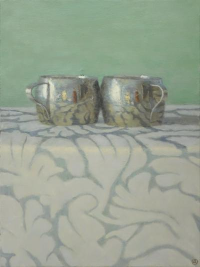 Olga Antonova Silver Cups on Patterned Cloth
