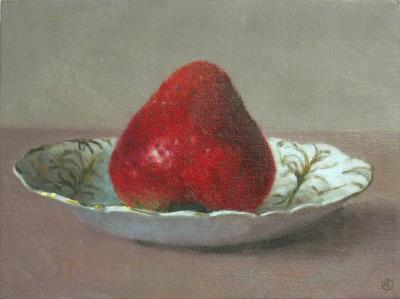 Olga Antonova Single Strawberry on Plate