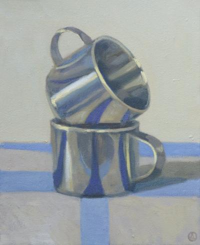 Olga Antonova Two Cups on Blue Stripes