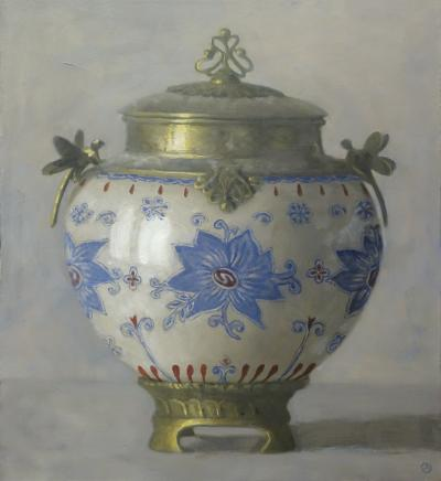 Olga Antonova Urn with Blue Flower Motif