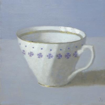 Olga Antonova White Cup on Periwinkle