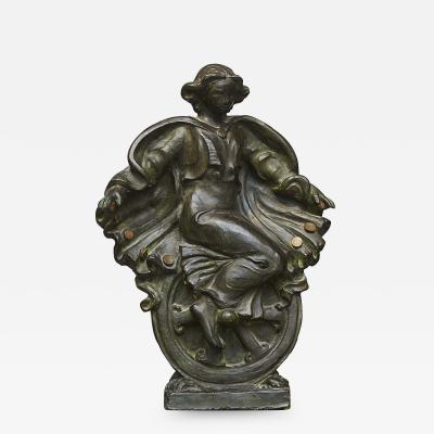 Olga Rosalie Aloisa Wagner lga Wagner Art Nouveau Sculpture Woman on a Wheel Browned Bronze