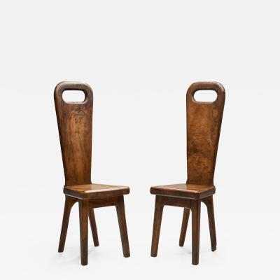 Olive Wood High Back French Chairs France 1970s