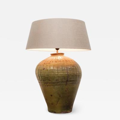 Olive pot lamp mid modern italy glazed pot campaign table lamp