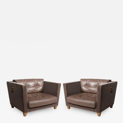 Olivier Gagnere Love Seat Pair of Donghia Mohair and Leather Lounge Chairs