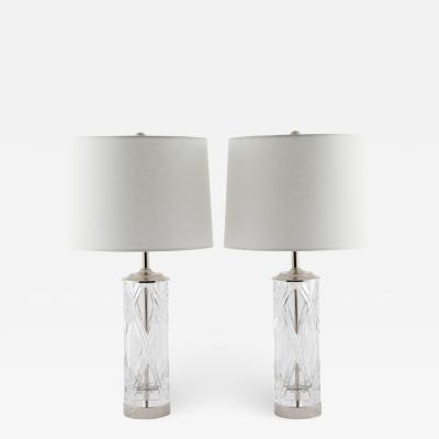 Olle Alberius Olle Alberius for Orrefors hand cut crystal table lamps circa 1970s