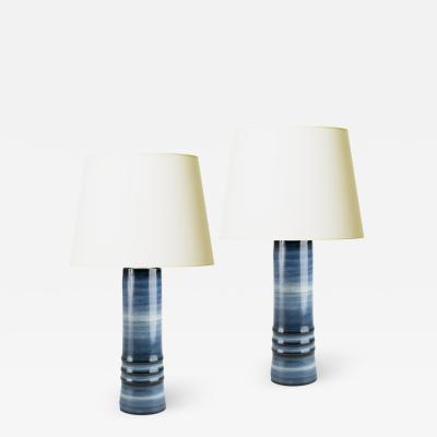 Olle Alberius Pair of Lamps with Blue Ombre Design by Olle Alberius