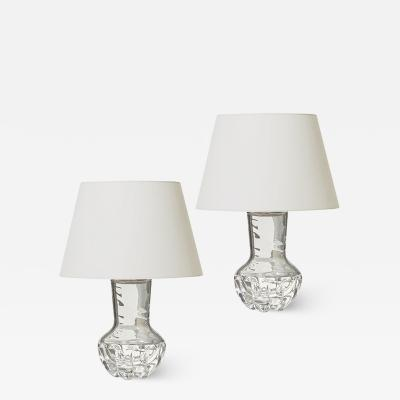 Olle Alberius Pair of Lobed Crystal Table Lamps by Olle Alberius for Orrefors