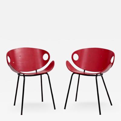 Olof Kettunen Rare Pair of Red Olof Kettunen Chairs for Merivaara Finland 1950s
