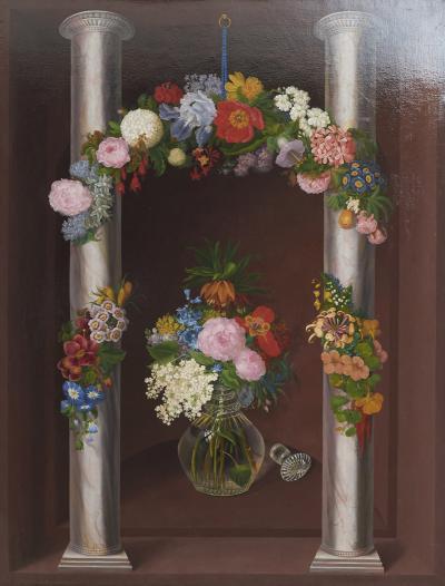 Oluf August Hermansen O A HERMANSEN LARGE FLOWER PAINTING