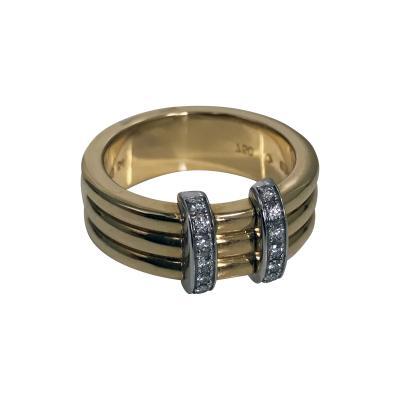 Omega 18K Yellow Gold Three Band Ring French Marks