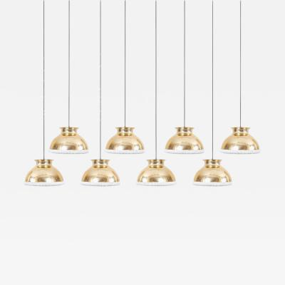 One of Eight Huge Brass Pendant Lamps with Fabric