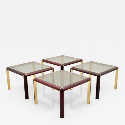 One of Four Mahogany Brass and Glass Side Tables 1980s