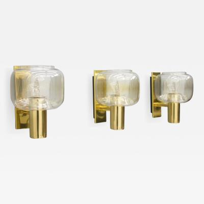 One of Three Scandinavian Brass and Glass Wall Lights 1960s