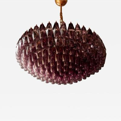 One of Two Very Huge Amethyst Polyhedral Murano Glass Chandelier