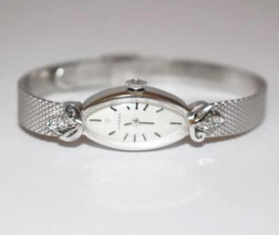One of a Kind Omega Collectible 14KT White Gold Diamond Vintage Wristwatch