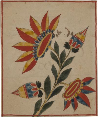 One of seven fraktur from the Bartholomew family of Bucks County Pennsylvania