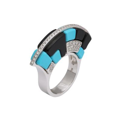Onyx Turquoise Diamond Ring