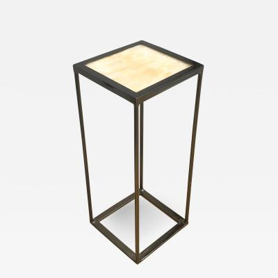 Onyx and Black Nickel Plated Side Table