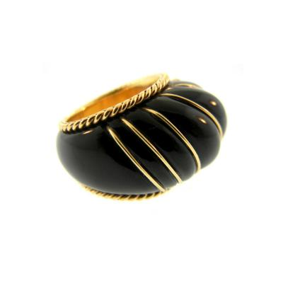 Onyx and Gold Shrimp Cocktail Ring