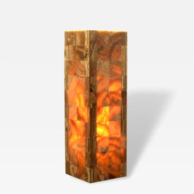 Onyx and Marble Industries Pair of Square based Orange Red Onyx Tower Table Lamps Mexico 20 H x 6 D x 6 W