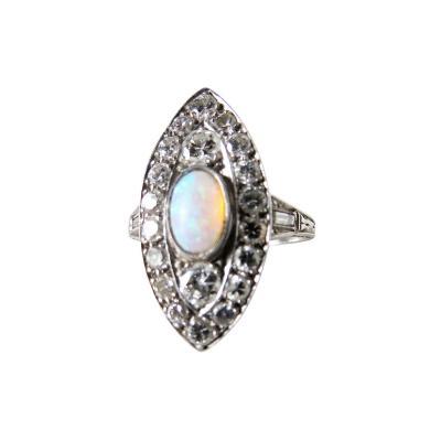 Opal and Diamond Art Deco Ring Circa 1930s