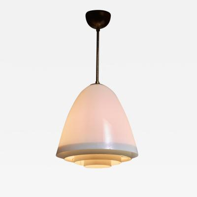 Opaline Glass Pendant with White Metal Grid Finland 1950s