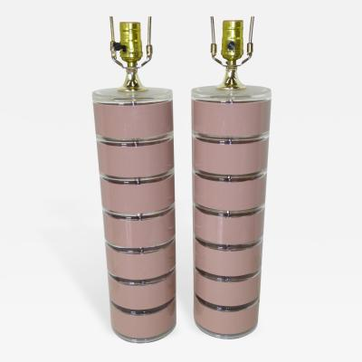 Optique Pair of Pink and Clear Lucite Disks Mid Century Modern Lamps by Optique