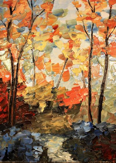 Orange Foliage Painting by Richard Riverin