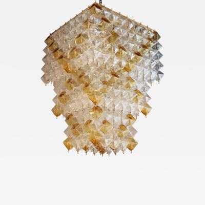 Orange and Clear Murano Glass Tiered Chandelier