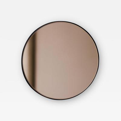 Orbis Round Bronze Tinted Contemporary Mirror with Black Frame