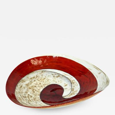 Organic Italian Pearl White Murano Glass Bowl with Swirled Wine Red Murrine