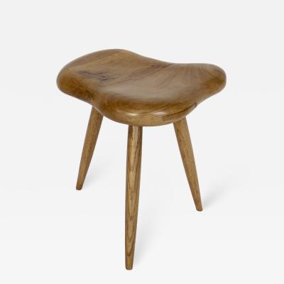 Organic Modern French Oak Stool or Side Table