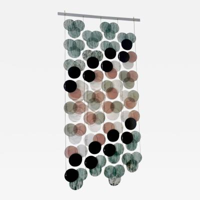 Organic Modern Italian Geometric Black Pink Aqua Murano Glass Curtain Divider