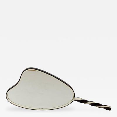 Organic Shaped Black and White Hand Mirror