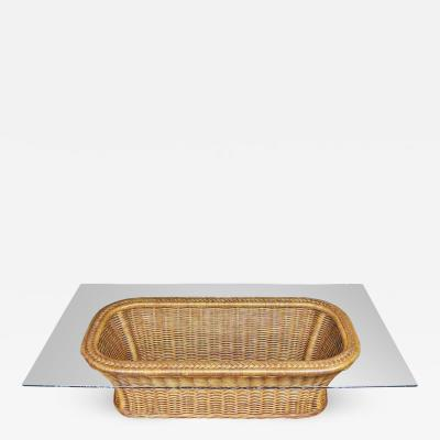 Organic modern woven wicker rattan coffee table with rectangular glass top