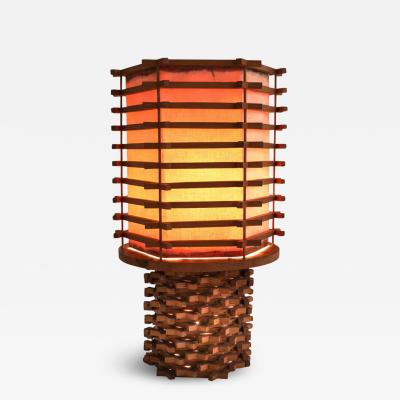 Oriental Table Lamp in Wood and Linen Asia 1950s