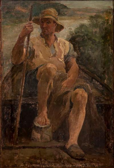 Original Antique Oil Painting Portrait of a Danish Fisherman