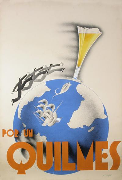 Original Argentine Gouache Maquette for Quilmes Beer Poster Circa 1930s