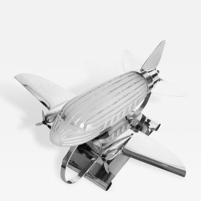 Original Art Deco Chrome Airplane Lamp w Frosted Glass
