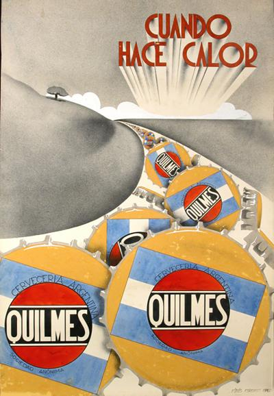 Original Gouache Maquette for Quilmes Beer Advertisement c 1920s