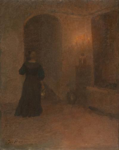 Original Interior Oil on Canvas Painting of Woman in Hallway