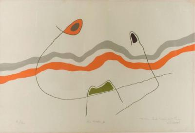 Original Modernist Abstract Lithograph The Waves Les Ondes Style MIRO