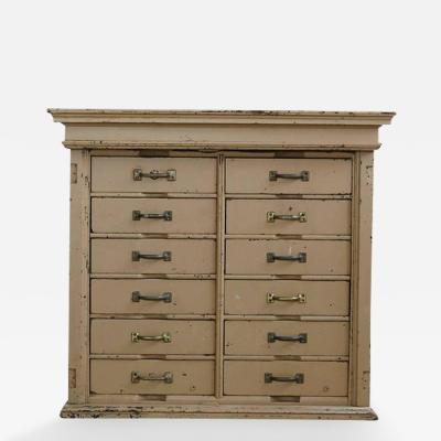 Original Painted 12 Drawer Cabinet with an Appropriately Worn Look