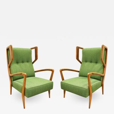 Orlando Orlandi Orlando Orlandi Attributed Pair of High Back Lounge Chairs 1950s