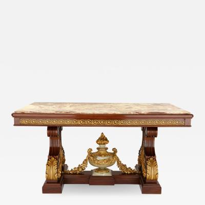 Ormolu mounted antique mahogany and onyx Louis XVI style centre table